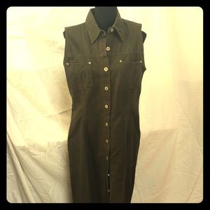 Adorable 90s vintage olive jean button dress